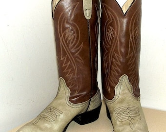 Vintage Bronco brand Cowboy Boots -- two tone brown and dull grey -- Vegan friendly