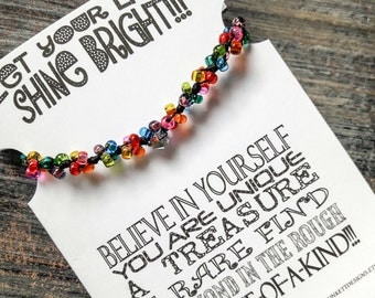 Let Your Light Shine Bright Bracelet - Shown In Confetti #2 (Colorful Beads On Black Cord)