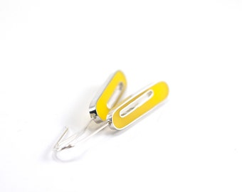 Love Struck Earrings in yellow sterling silver resin oval mod bright sunny