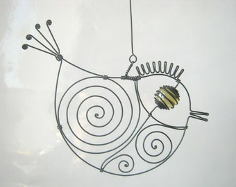 Another Small Yellow - Eyed Wire Bird Sculpture