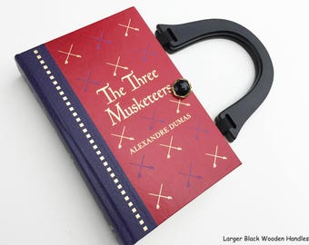Three Musketeers Book Purse - All For One and One For All - 3 Muskateers Book Bag - Literary Pocketbook - Sisters Gift - Alexandre Dumas