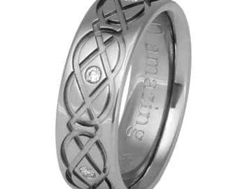 Celtic Titanium Wedding Band  - Titanium Diamond Ring - Infinity - ck43