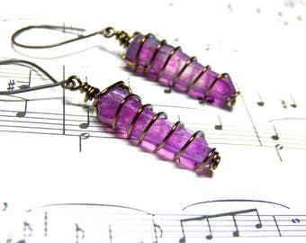 Purple Amethyst Aura Raw Crystal Earrings Crystal Healing Jewelry Most Popular Jewelry Top Selling Jewelry