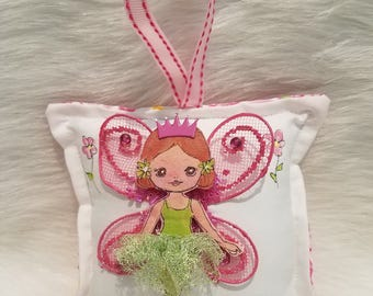 Girl Tooth Fairy Pillow - Hand Painted - Cloth Fairy with Red Hair -  Add name for FREE