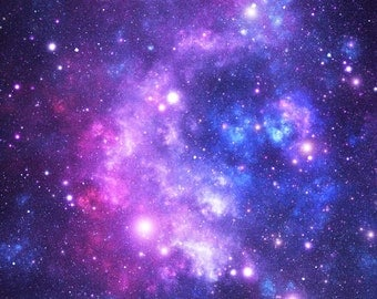 Outer Space Fabric - Purple Space Stars By Inspirationz - Space Cotton Fabric By The Yard With Spoonflower