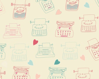 Trendy Typewriter Fabric - Typewriter Love Hearts By Sarah Price - Hipster Typewriter Cotton Fabric By The Yard With Spoonflower