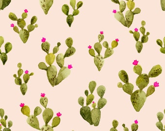 Blush Boho Cactus Fabric - Prickly Pear Blush By Mintpeony - Blush Wedding Cactus Bohemian Cotton Fabric By The Yard With Spoonflower