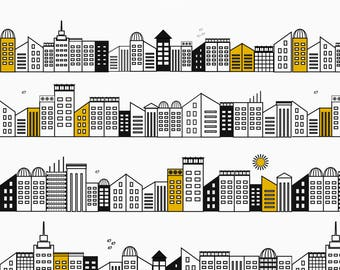 Black + Yellow City Streets Fabric - City Monochrome With Touches Of Mustard By Sunny Afternoon - Cotton Fabric by the Yard with Spoonflower