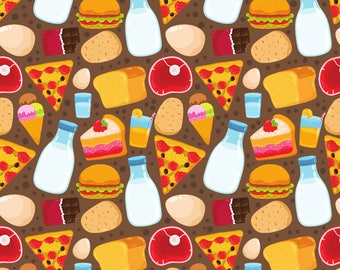Cute Foods Fabric - Food Pattern By Kostolom3000 - Pizza Milk Chocolate Eggs Bread Steak Burger Cotton Fabric By The Yard With Spoonflower