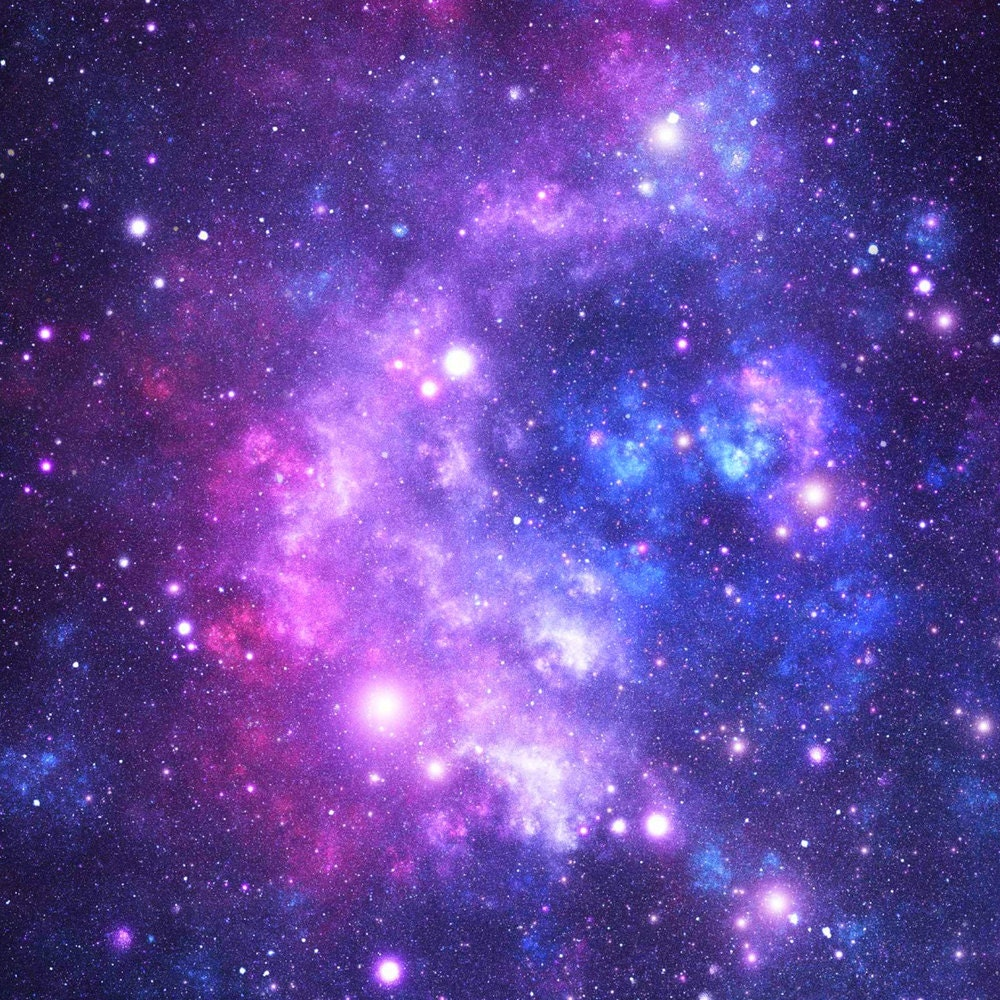 Outer space fabric purple space stars by inspirationz for Outer space fabric by the yard