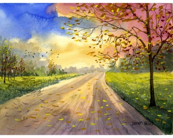 Watercolor landscape Painting PRINT country road fall trees  seasons Landscape lane forest autumn colors rose olive GICLEE