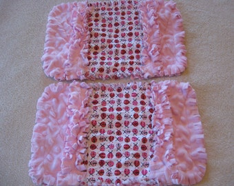 Mini LadyBugs Baby Shower Gift Spit Rag Pink Red Baby Girl Burp Cloths with Minky backing