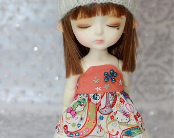 SALE - LATI Yellow PukiFee - Hello Kitty Series - Paisley - DRESS - Orange - Cream - Green