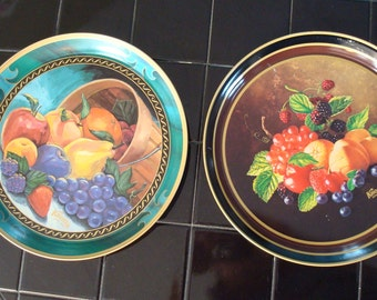 Metal Tray, Set of Two Trays, Knott's Berry Farm Kitchen Metal Trays, Vintage Trays, Fruit Pattern, Fruit Tray, Colorful Tray, Still Life