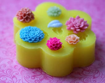 Silicone Flower Molds Mum Leaf Flower Cabochon Moulds Jewelry Baking Chocolate Polymer Clay Resin