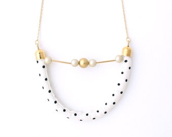 Half moon necklace - Polka dots