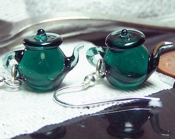 Teal Green Tea Tiny Teapots - Glass Dangling Earrings SRA