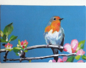 tiny canvas print of bird-robin red breast