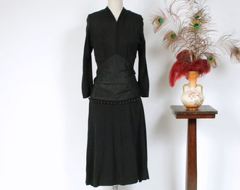 Vintage 1940s Dress -Elegant Black Rayon 1940s Cocktail Dress with Plunging Neckline and Dingle Ball Trimmed Taffeta Peplum