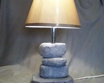 Soapstone stacked stone lamp
