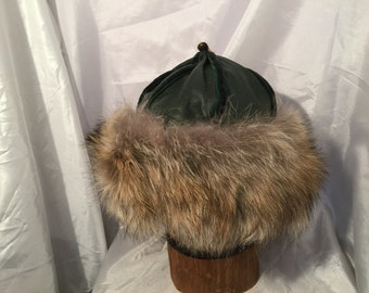 Beautiful Mongolian, Russian, Cossack, Norse, Celtic, green leather hat with coyote fur and brown horse tail