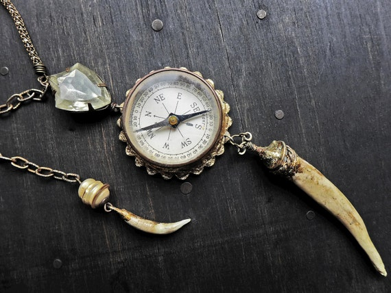 "Rustic lariat necklace with compass - ""Duchess of Discovery"""