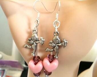 purple heart earrings angel earrings cupid dangle earrings love fantasy beaded charm jewelry handmade