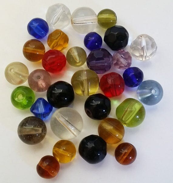 31 glass beads mixed lot faceted cats eye round beads beading #supply862