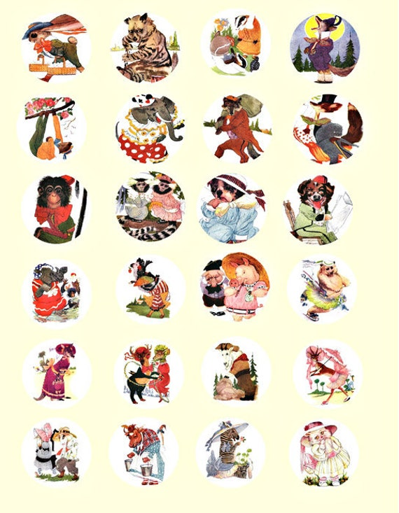 animals wearing clothes acting human clip art digital download collage sheet 1.5 INCH circles image graphics scrapbooking craft printables