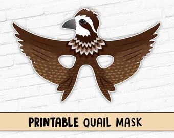 Quail Mask | Printable Bobwhite Quail Mask | Game Bird Mask
