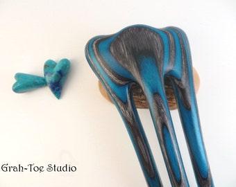 Dark Aqua Spectraply Hair Fork,Threnody TUSK,Wooden Hairfork,Hair Forks,Hairforks,Hair Stick,Hairsticks,Wood Hair Sticks,Man Bun,Hairfork