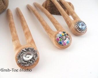 Hair Fork Snap,Curly Maple Wood ,2 Prong Grahtoestudio Hair Fork,Hair Stick,Wood Hairfork, Mothers Day gift,Man Bun,Hairforks,SNAP Hairforks