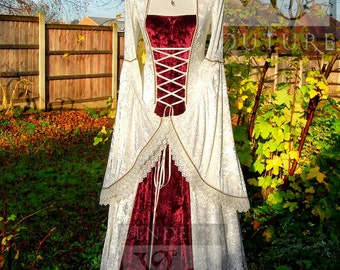 Medieval Wedding Gown Dress Celtic Renaissance Made to order in sizes S to XXL