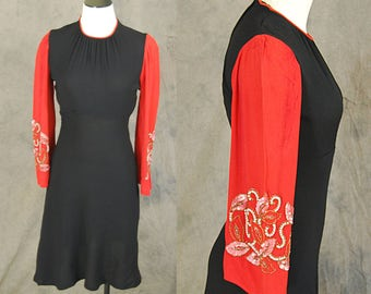 vintage 40s Colorblock Dress - 1940s Beaded Bell Sleeve Dress - Red and Black Cocktail Dress Sz XS