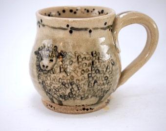 Gift for Her - Gift for Man - Coffee Mug - Sheep Mug - handmade - ceramic mug - Rustic - mom mug - Hand painted - Watercolor - Stoneware Mug