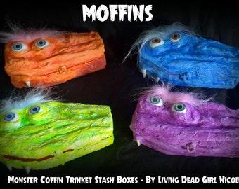 Moffins - Monster Coffin Box: Trinket Jewelry Stash Ring Box - Handmade Art