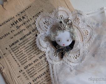 Black Queen Unusual Art Doll Brooch/Necklace