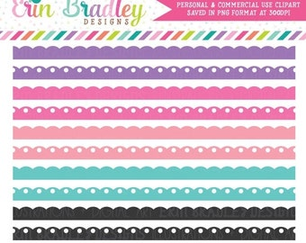 70% OFF SALE Girls Scalloped Borders Clipart in Purple Pink Aqua Blue, Digital Clipart Edging, Digital Scrapbooking Elements, Commercial Use