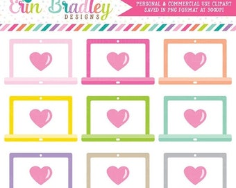 50% OFF SALE Laptop Clipart with Hearts Commercial Use Computer Graphics
