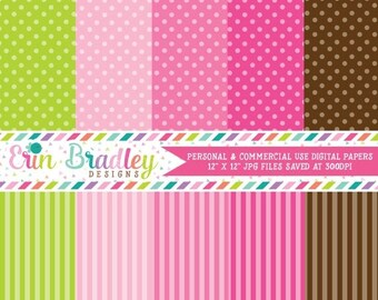 50% OFF SALE Digital Paper Pack Personal and Commercial Use Preppy Polka Dots and Stripes