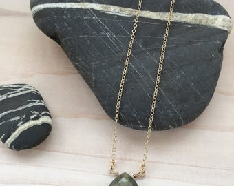 Labradorite Briolette/ Teardrop Necklace in Gold