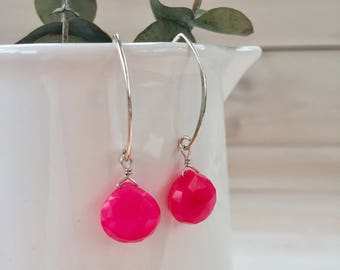 Pink Agate Teardrop Earrings in Sterling Silver
