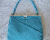Clearance SALE Priced,  Vintage Beaded Handbag, Gorgeous, Mediterranean Blue, Beaded Walborg, Hand Beaded Handbag