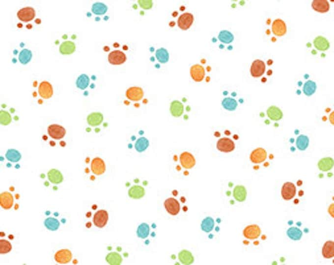 Children's Fabric, Cuddle Time Cotton Fabric Multi Puppy Paw Prints by Quilting Treasures