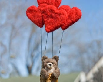Needle Felted Bear in Hot Air Balloon