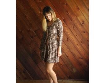 20% off SALE ... Babydoll Floral Lace Corset Mini Dress - Vintage 60s 70s - XS