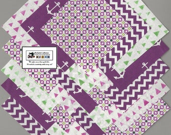 "25~5"" Purple and Green Fabric Squares/Quilt/Craft/Sewing/Charm Packs #5891"