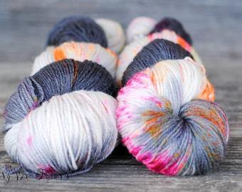 DARK INTENTIONS - Hand Dyed Sock Yarn Fingering Weight SW Merino/Nylon knitting, crocheting, weaving yarn - 420 yards