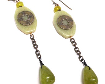 serpentine chain dangle Chinese coin earrings