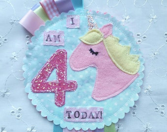 Personalised Unicorn Party Birthday Girls Rosette Badge Age Ribbon Rosette made to order can be personalised